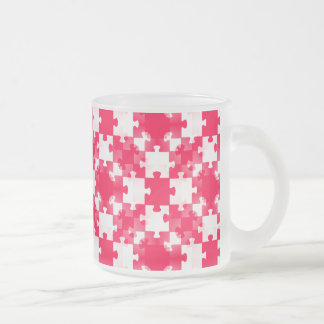RED white jigsaw puzzle backgrounds wallpapers tem Frosted Glass Coffee Mug