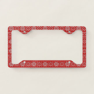 Red & White Knitted Christmas Pattern License Plate Frame