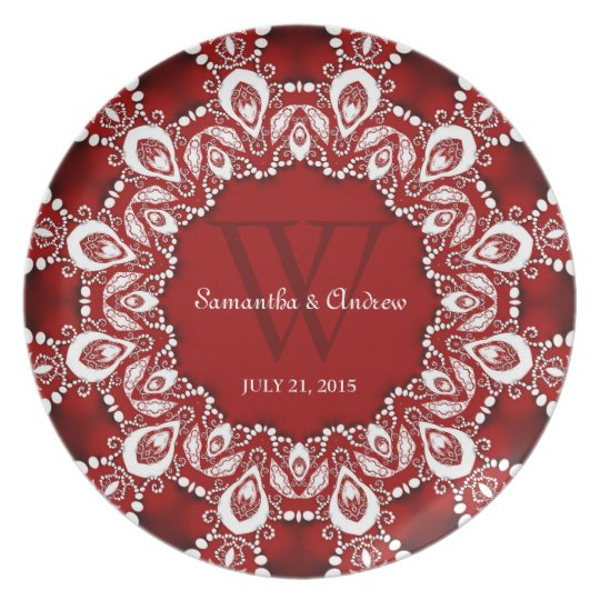 Red+White Lacy Art Wedding Keepsake Gift Plate
