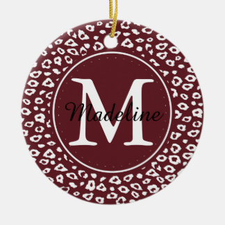 Red White Leopard Print Monogram Double-Sided Ceramic Round Christmas Ornament
