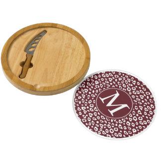 Red White Leopard Print Monogram Round Cheese Board