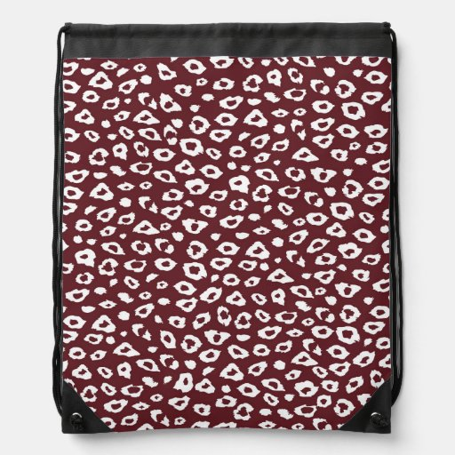 Red White Leopard Print Backpack