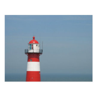 Red White Lighthouse Post Card