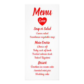 Red & White Love Heart Menu Wedding Party