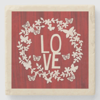Red & White, Love Square Stone Coaster