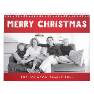 Red White Merry Christmas Personalized Calendars