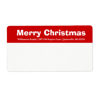 Red & White Merry Christmas Shipping Labels