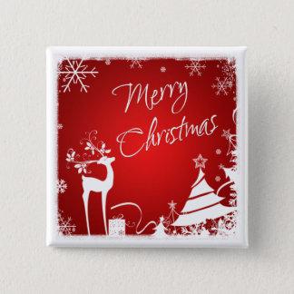 Red, White Merry Christmas Snowflakes Button