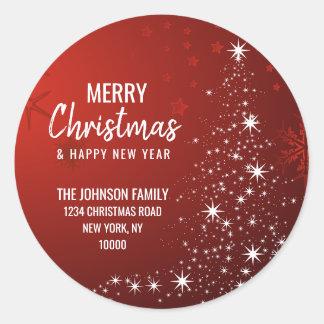 RED White MERRY CHRISTMAS Tree Return Address Classic Round Sticker