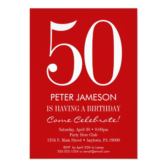 Red & White Modern Adult Birthday Invitations