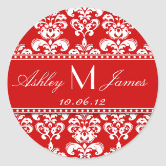 Red White Monogram Damask Save the Date Stickers