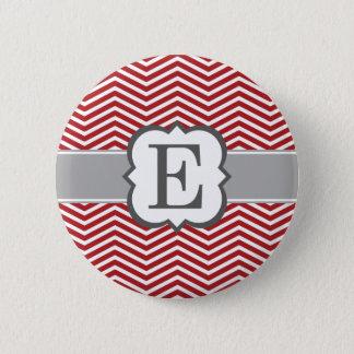 Red White Monogram Letter E Chevron 2 Inch Round Button