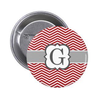 Red White Monogram Letter G Chevron 2 Inch Round Button