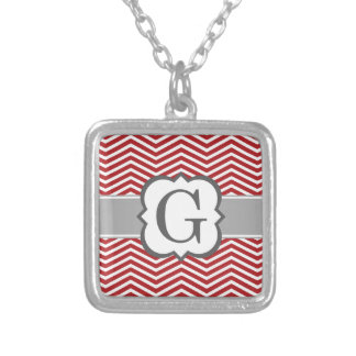 Red White Monogram Letter G Chevron Silver Plated Necklace