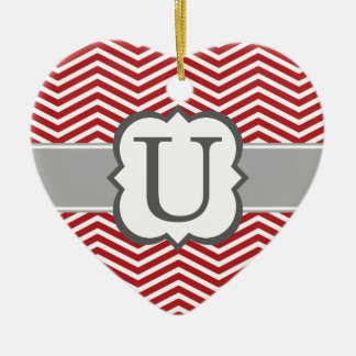 Red White Monogram Letter U Chevron Ceramic Heart Ornament