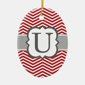 Red White Monogram Letter U Chevron Ceramic Oval Ornament