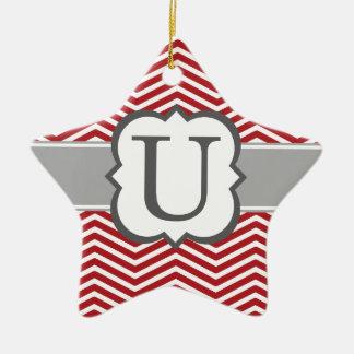 Red White Monogram Letter U Chevron Ceramic Star Ornament