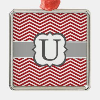 Red White Monogram Letter U Chevron Silver-Colored Square Ornament