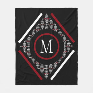 Red & White Monogram With Asian Inspired Patterns Fleece Blanket