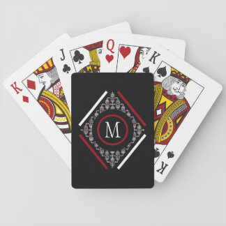 Red & White Monogram With Asian Inspired Patterns Playing Cards