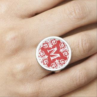 Red white monogrammed rings