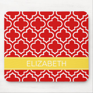 Red White Moroccan #6 Pineapple Name Monogram Mouse Pad