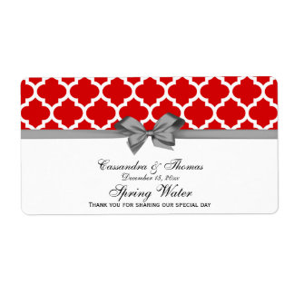Red, White Moroccan Gray Party Water Label Shipping Label