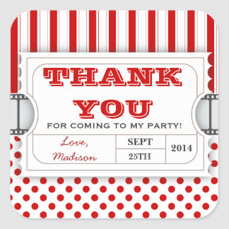 Red White Movie Ticket Birthday Thank You Sticker