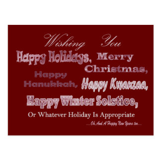 Red White Multi Holiday Postcard