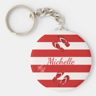 Red white nautical stripes with flip flop decor keychain