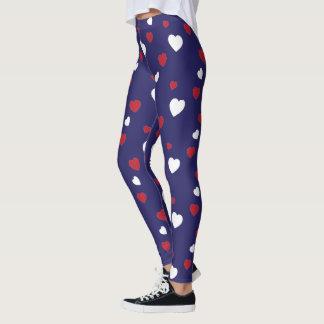 Red, White, Navy Blue Hearts Pattern Leggings