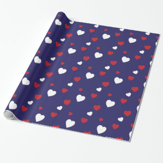 Red, White, Navy Blue Hearts Pattern Wrapping Paper