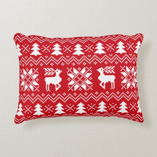 Red White Nordic Christmas Winter Pattern Accent Pillow
