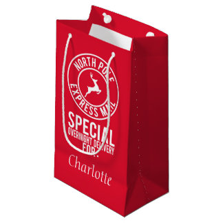 Red & White North Pole Delivery Name Gift Bag