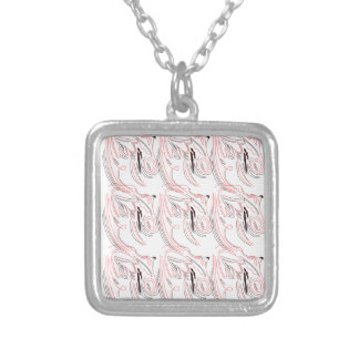 Red white ornaments / tshirts silver plated necklace