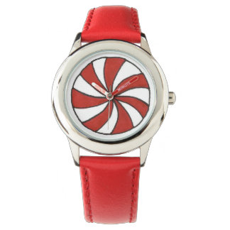Red White Peppermint Candy Christmas Xmas Watch