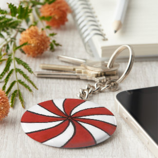 Red White Peppermint Candy Mint Holiday Christmas Keychain