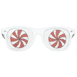 Red White Peppermint Candy Mint Holiday Christmas Retro Sunglasses