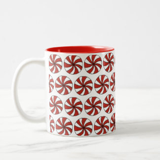Red White Peppermint Candy Mint Holiday Christmas Two-Tone Coffee Mug