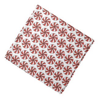 Red White Peppermint Swirl Mint Candy Christmas Bandana