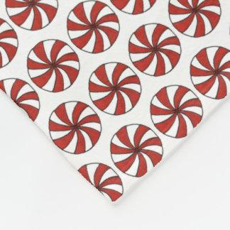 Red White Peppermint Swirl Mint Candy Christmas Fleece Blanket