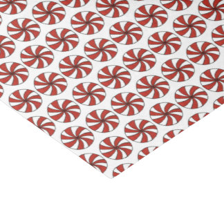 Red White Peppermint Swirl Mint Candy Christmas Tissue Paper