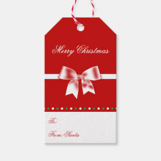 Red White Personalized Christmas Gift Tags Bow Pack Of Gift Tags