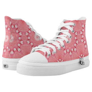 Red White Pink Candy Cane Kaleidoscope High Tops