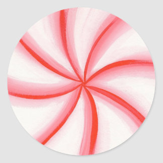 Red White Pink Candy Mint Swirl Stickers
