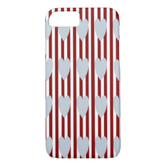 RED/WHITE PINSTRIPE GREY HEARTS iPHONE 7/8 CASE