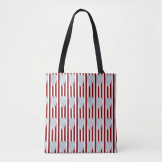 RED/WHITE PINSTRIPE GREY HEARTS TOTE BAG