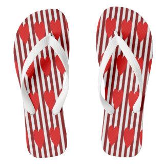 RED/WHITE PINSTRIPE RED HEARTS FLIP-FLOP FLIP FLOPS