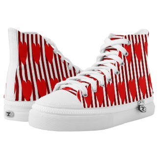 RED/WHITE PINSTRIPE RED HEARTS HIGH-TOP SNEAKER