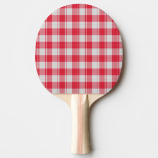 Red White Plaid Fabric Ping Pong Paddle